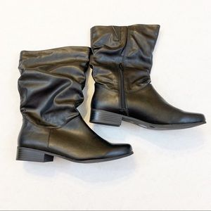 Black Slouch Boots, Size Zip